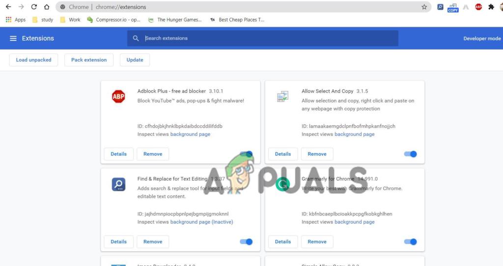 désactiver les extensions Chrome pour corriger status_access_violation