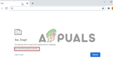 Aw, Snap! Error Code STATUS_ACCESS_VIOLATION