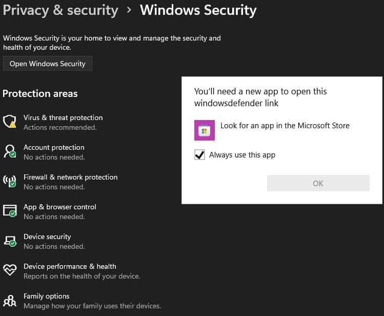 Komunikat z nowym błędem aplikacji bezpieczeństwa Defender w Windows 11