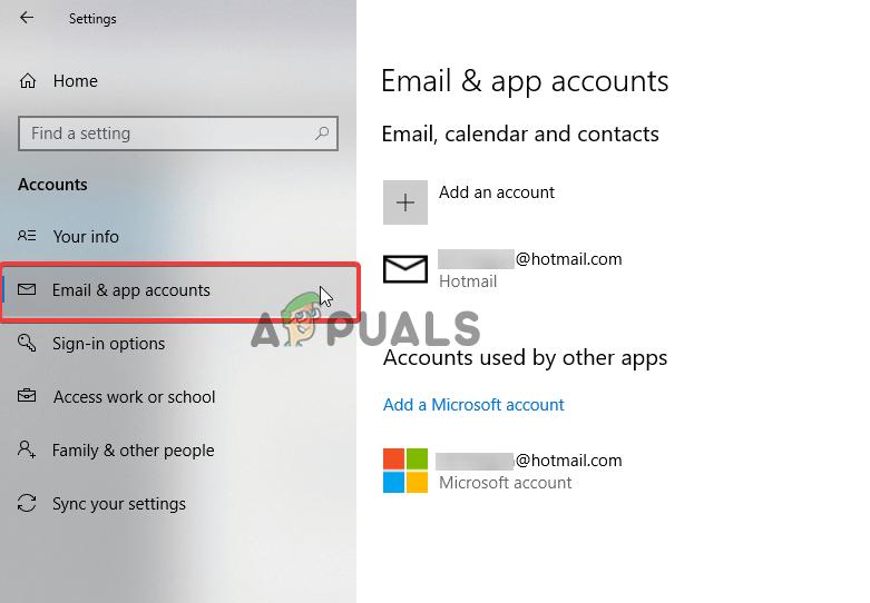 Choose choose Email & app accounts