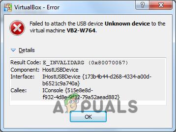 VirtualBox n'a pas réussi à connecter l'USB